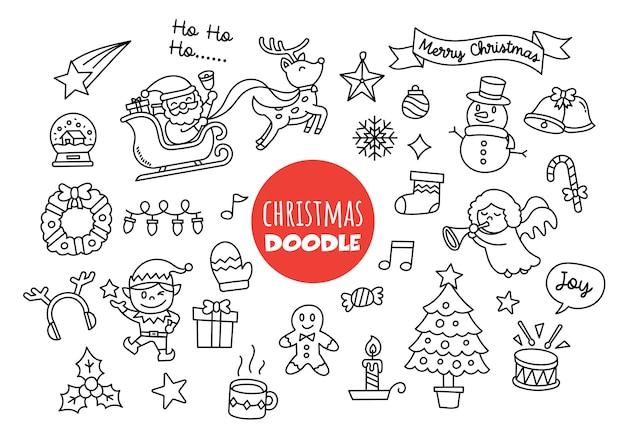 Boże narodzenie kawaii doodle ręka styl rysowania
