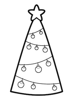 Boże narodzenie kolorowanka lub strona dla dzieci. choinka czarno-biała ilustracja wektorowa