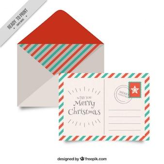 Boże narodzenie koperty z pocztówki w stylu vintage