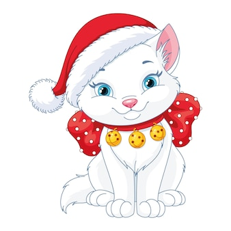 Boże narodzenie kot z santa hat