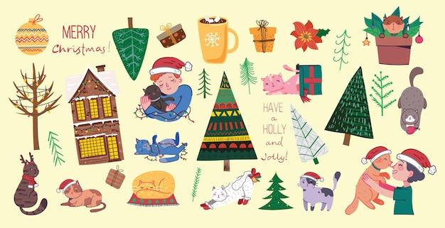 Boże narodzenie koty, wesołych świąt ilustracje chłopca i dziewczyny przytulające koty, młody chłopak i dziewczyna ze zwierzakiem, choinką, domem, prezentami w stylu płaskiej kreskówki.