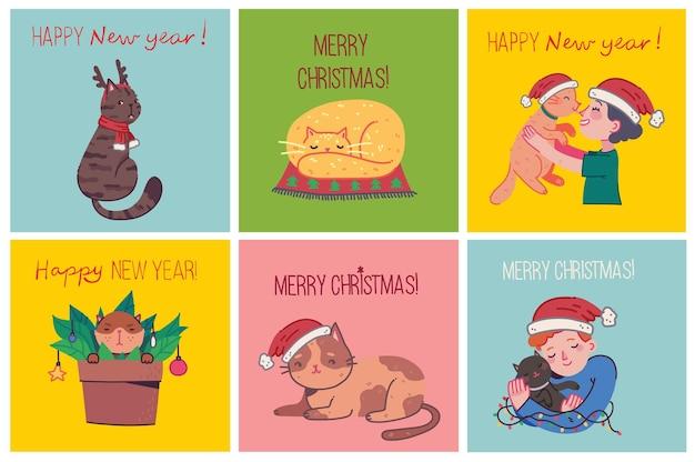 Boże narodzenie koty, wesołych świąt ilustracje chłopiec i dziewczynka przytulanie kotów, młody człowiek ze zwierzakiem obejmuje portret w stylu płaskiej kreskówki.