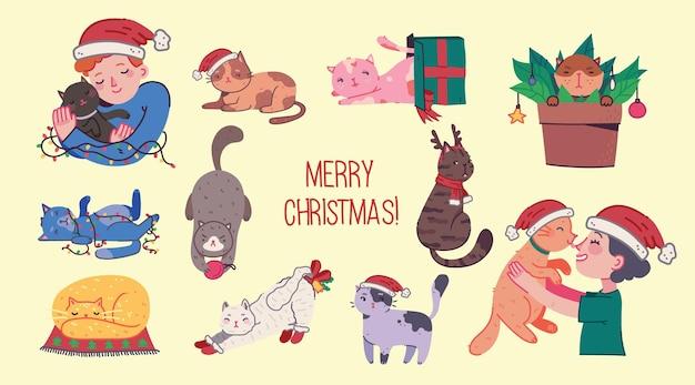 Boże narodzenie koty wesołych świąt ilustracje przedstawiające chłopca i dziewczynę przytulających koty