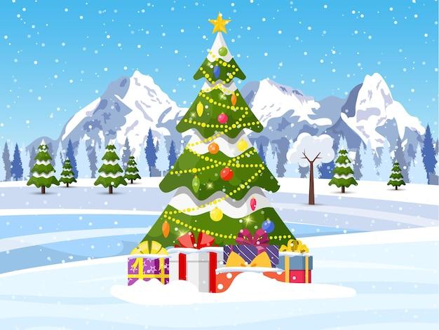 Boże narodzenie krajobraz tło ze śniegiem i drzewem