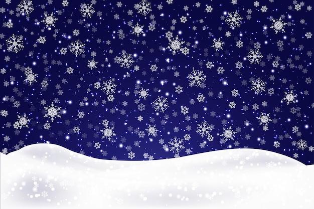 Boże narodzenie krajobraz z spadającymi płatkami śniegu. śnieg tło. realistyczna zaspa na białym tle. ilustracja wektorowa.