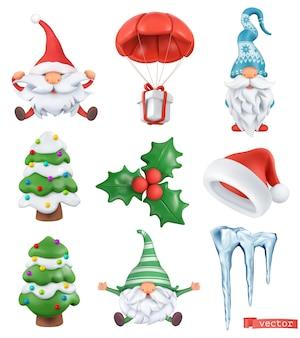 Boże narodzenie kreskówka 3d wektor zestaw ikon. święty mikołaj, czapka świętego mikołaja, krasnoludy, drzewo, prezent, sopel lodu, ostrokrzew