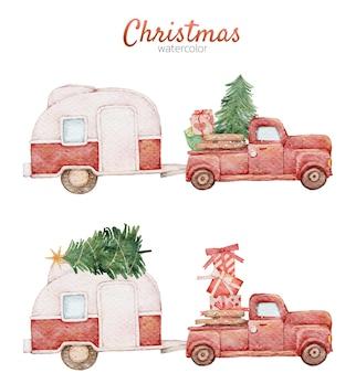 Boże narodzenie kreskówka ładny czerwony samochód akwarela ręcznie malowany