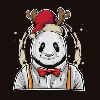 Boże narodzenie kreskówka panda