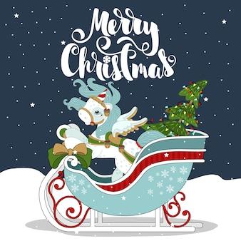 """Boże narodzenie kucyk na tle pięknej zimy, płatki śniegu. z odręcznym napisem """"wesołych świąt""""."""