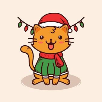 Boże narodzenie ładny kot ilustracja