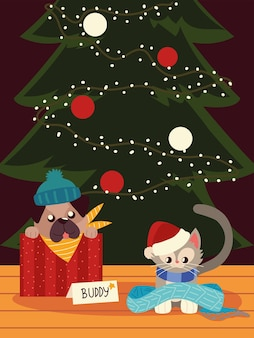 Boże narodzenie ładny pies i kot z szalikiem i zwierzętami drzewnymi
