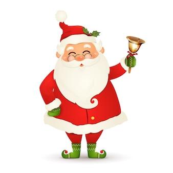 Boże narodzenie ładny, wesoły, zabawny mikołaj w okularach, boże narodzenie złoty dzwonek na białym tle. mikołajki na ferie zimowe i noworoczne. szczęśliwy postać z kreskówki świętego mikołaja.