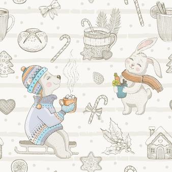 Boże narodzenie ładny wzór zwierząt. doodle niedźwiedź, królik. kubek retro zimowy napój. ręcznie rysowane szkic tło. boże narodzenie ilustracja na białym tle. papier pakowy, opakowania dla dzieci, nadruk na tkaninie koźlęcej
