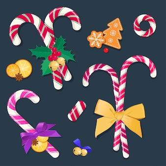 Boże narodzenie laski cukierki z kokardkami i dekoracjami. elementy graficzne na nowy rok, boże narodzenie i nowy rok. ilustracja.