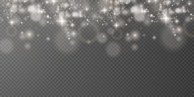Boże narodzenie lekki musujący pył z błyszczącymi gwiazdami na przezroczystym tle błyszcząca tekstura