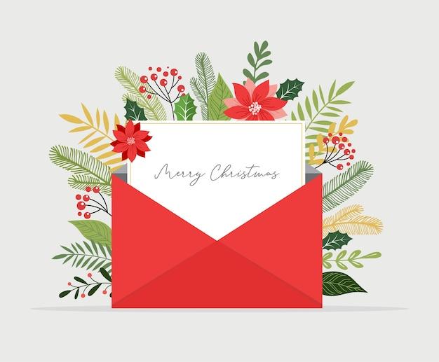 Boże narodzenie list wychodzi z koperty. pusta biała papryka do pisania wiadomości.