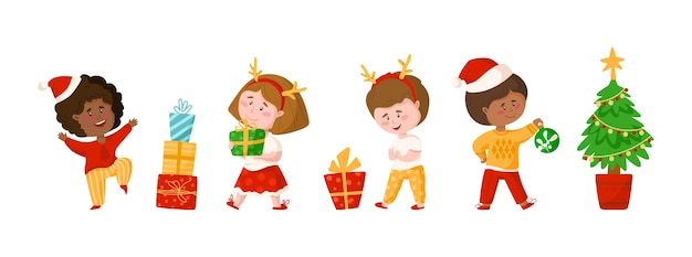 Boże Narodzenie Lub Nowy Rok Dzieci Clipart Premium Wektorów