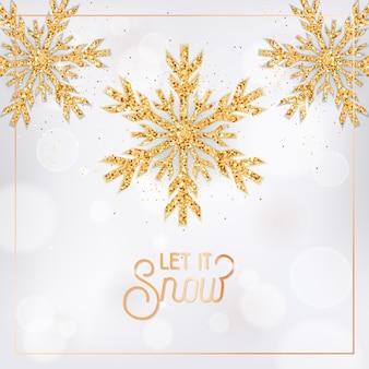 Boże narodzenie lub nowy rok pozdrowienie pocztówka, projekt ulotki z zaproszeniem. elegancka kartka wesołych świąt ze złotymi płatkami śniegu i brokatem na białym niewyraźne tło z typografią niech pada śnieg. ilustracja wektorowa