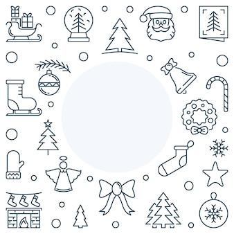 Boże narodzenie lub nowy rok wakacje wektor linii kwadratowa ramka