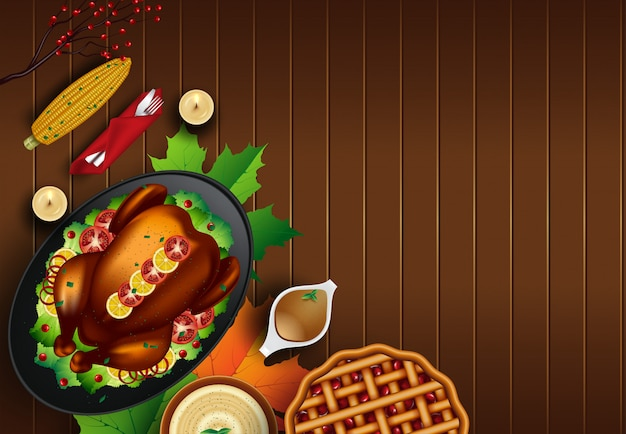 Boże narodzenie lub święto dziękczynienia turcji na tle rustykalnym drewniany stół z lato