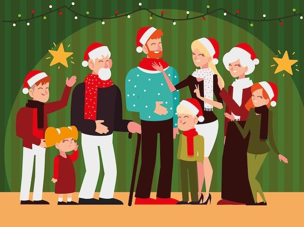 Boże narodzenie ludzie, szczęśliwa rodzina z szalikiem w kapeluszu zapala gwiazdy, świętuje sezonową ilustrację partii