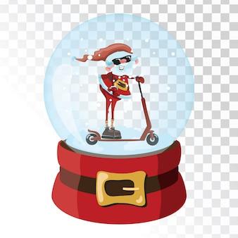 Boże narodzenie magiczna kula szklana z mikołajem. przezroczysta szklana kula z płatkami śniegu.