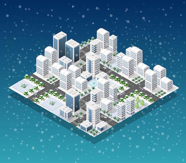 Boże narodzenie miasta izometryczny