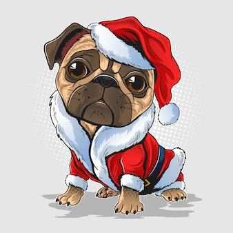 Boże narodzenie mops pies w stroju świętego mikołaja