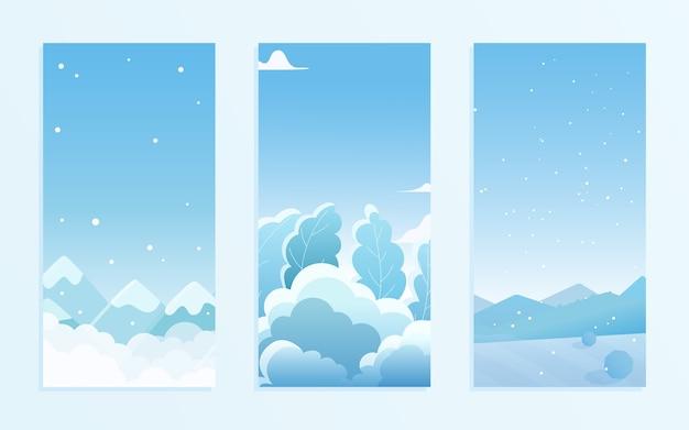 Boże narodzenie natura zimowy krajobraz pod śniegiem zestaw ilustracji