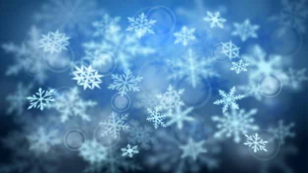 Boże narodzenie niewyraźne tło złożonych, niewyraźnych dużych i małych spadających płatków śniegu