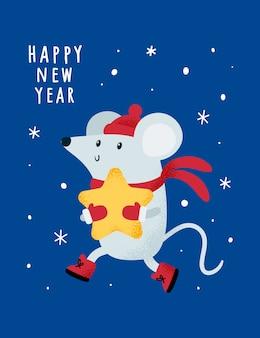 Boże narodzenie nowy rok 2020. szczur, mysz, myszy, dziecko z gwiazdą.