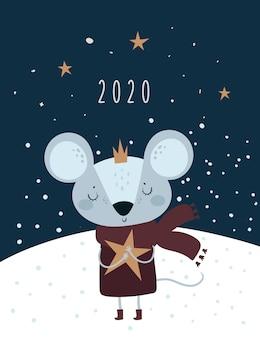Boże narodzenie nowy rok 2020. szczur, mysz, myszy, mała księżniczka w koronie