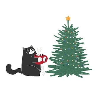 Boże narodzenie nowy rok kreskówka kot z kubkiem i drzewem ręcznie rysowane zwierzę zimowe grudniowe wakacje