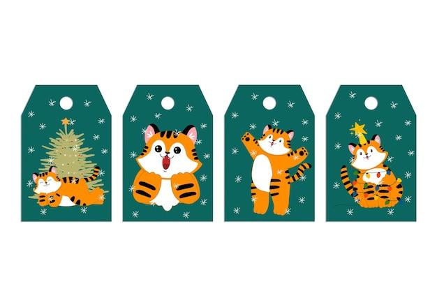 Boże narodzenie nowy rok szablony tagów z uroczymi zwierzętami z kreskówek tygrys zimowe zwierzęta z północy