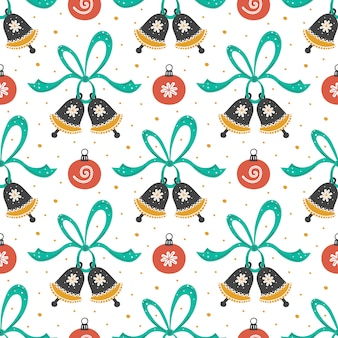 Boże narodzenie nowy rok wzór. ręcznie rysowane płaskie dźwięczenie dzwony z wstążkami i choinki zabawki tło. papier, tkanina tło.