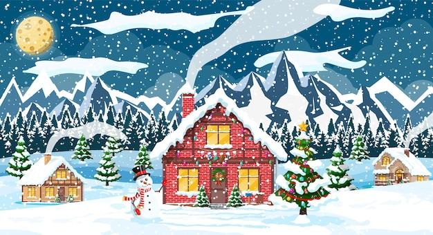 Boże narodzenie nowy rok zimowy krajobraz