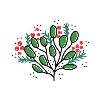 Boże narodzenie oddział na białym tle ilustracji wektorowych świąteczne rośliny na powitanie wzorów