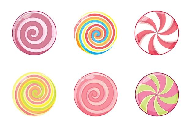 Boże narodzenie okrągły zestaw cukierków na białym tle