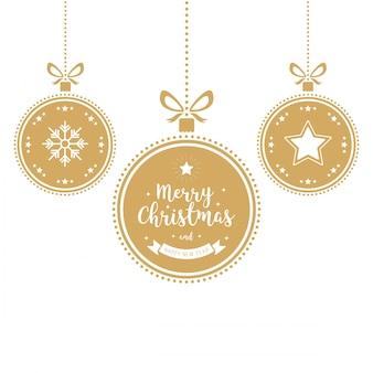 Boże narodzenie ornamentów złotych baubles odosobniony tło
