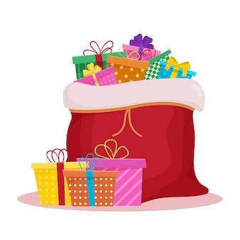 Boże narodzenie otwarty worek świętego mikołaja z prezentami.