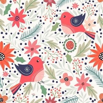 Boże narodzenie ozdobny wzór z ptakami i zimowymi elementami
