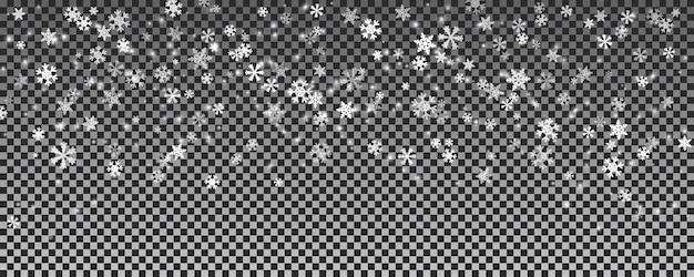 Boże narodzenie padający śnieg na białym tle przezroczyste tło
