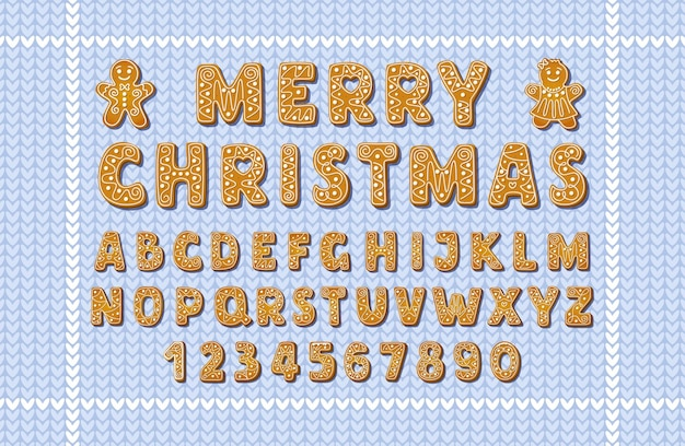 Boże narodzenie pierniki alfabet czcionki i cyfry na niebieskim tle dziewiarskich. zimowe ciasteczka cukrowe w kształcie angielskich liter z piernikowymi mężczyznami. ilustracja kreskówka wektor.