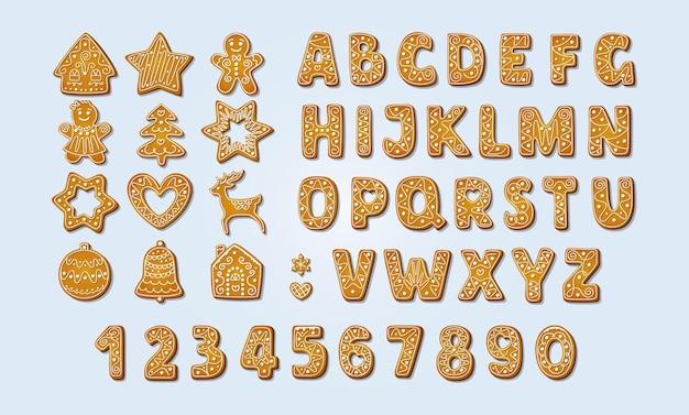 Boże narodzenie pierniki alfabet czcionki i numery zimowe ciasteczka z cukrem pudrem ilustracji wektorowych