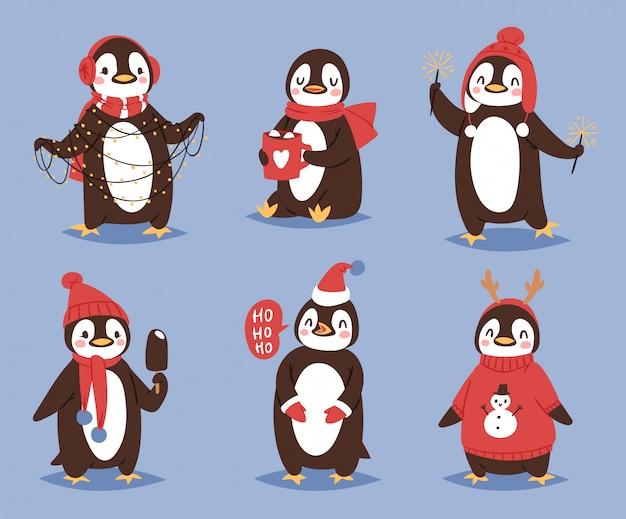 Boże narodzenie pingwina postać z kreskówki ładny ptak świętować boże narodzenie zabawny szczęśliwy pingwin twarz uśmiech ilustracji w santa red hat