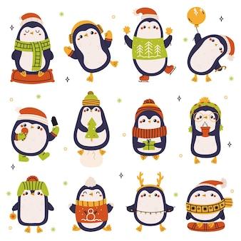 Boże narodzenie pingwiny śliczne wakacyjne zimowe pingwiny w kapeluszu i szaliku na białym tle wektor zestaw