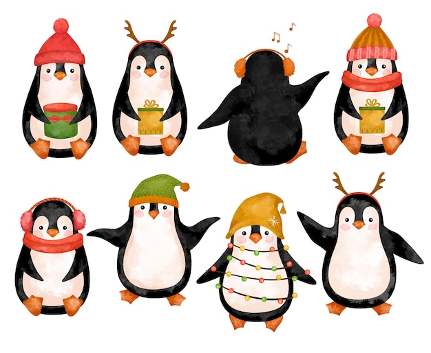 Boże narodzenie pingwiny w kapeluszu clipartów kreskówka se