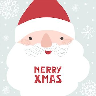 Boże narodzenie plakat z mikołajem, napis wesołych świąt, płatki śniegu w stylu płaski.