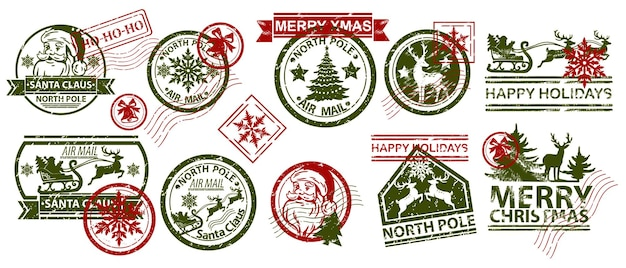 Boże narodzenie poczta pieczęć wektor ilustracja zestaw santa claus vintage wakacje zima stempel pocztowy projekt