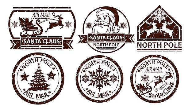 Boże narodzenie poczta wektor znaczek santa claus pocztowy biegun północny vintage znak pocztowy na białym tle